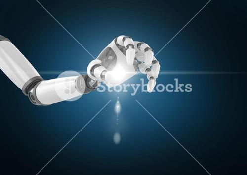 Robot hand with light flare against blue background