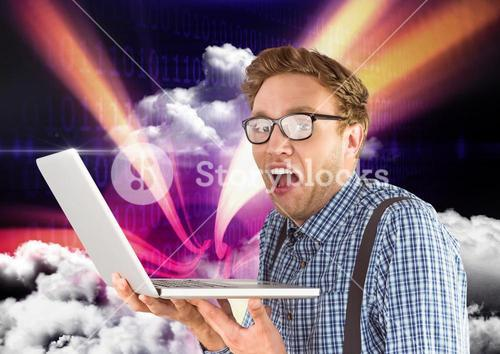 Man holding laptop against sky in background