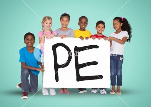 Kids holding placard that reads pe
