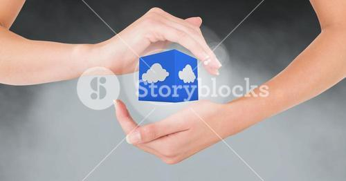 Hands gesturing against cloud computing icon in background