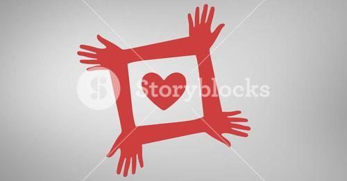Conceptual image of charity against grey background