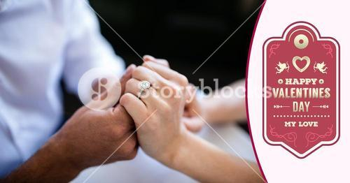 Composite image of couple with engagement ring