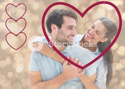 Romantic couple embracing with heart shape