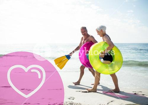 Senior couple on beach during vacation