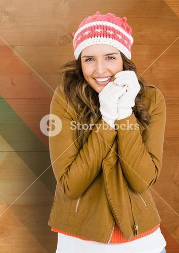 Happy woman smiling in winter clothing