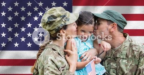 Soldier couple reunited with their daughter