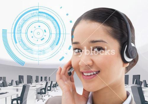 Call center executive with office and interface