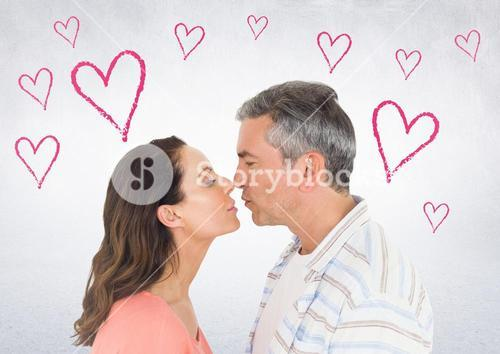Mature couple romancing