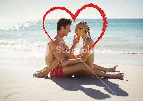 Romantic couple in love at beach