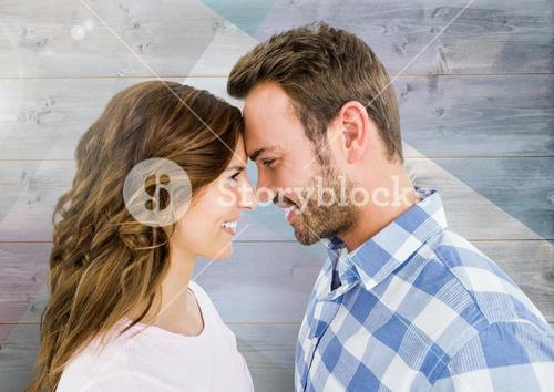 Romantic couple in love smiling