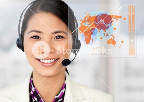 Portrait of customer service  executive against digital interface