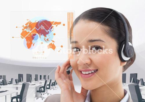 Composite image of customer service executive with world map interface