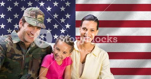 Portrait of soldier reunited with family