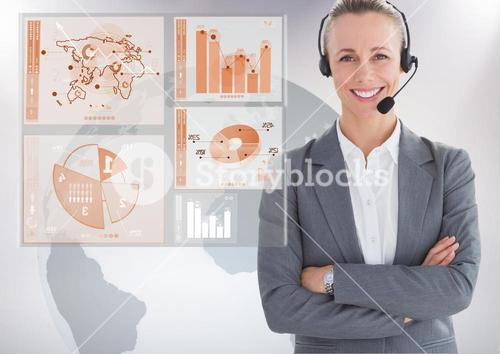 Customer service woman with world map interface in background