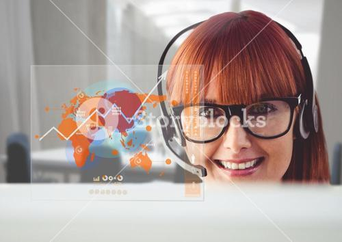 Customer service executive and digitally generated world map