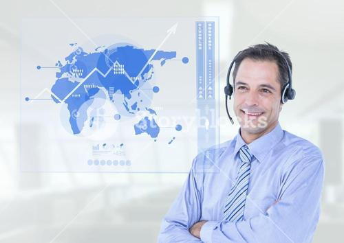 Smiling customer service executive with hands crossed