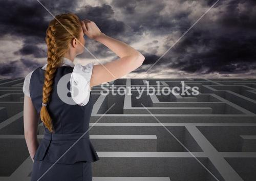 Rear view of businesswoman looking over maze