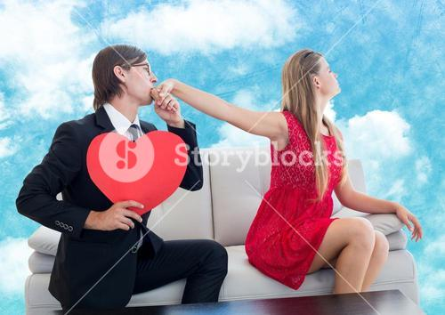 Man with red heart pleasing upset women