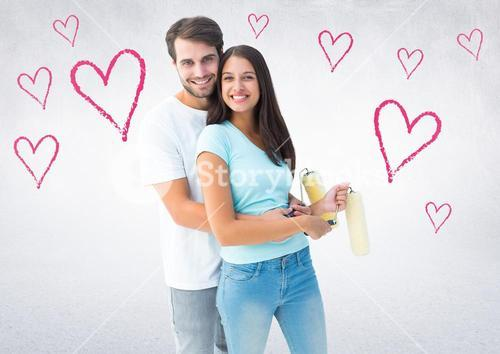 Portrait of happy couple embracing each other