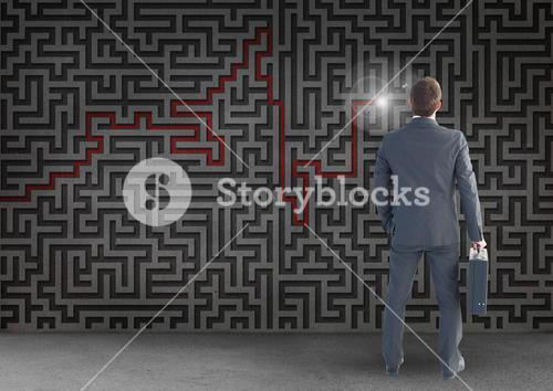 Businessman with suitcase looking at maze