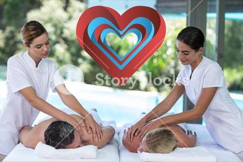 Couple reviving back massage in spa