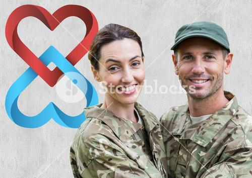 Portrait of couple in soldier uniform embracing each other