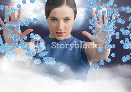 Woman touching connecting icons against digitally generated background