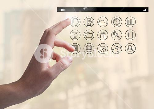 Hand touching digitally generated application apps