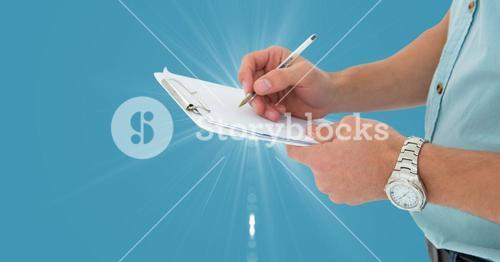 Delivery man preparing checklist against blue background