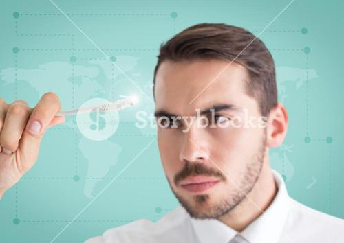 Attentive businessman holding cable with flare