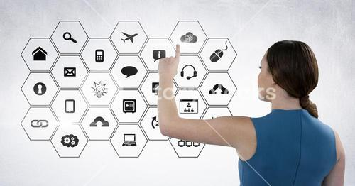Woman touching digitally generated connecting icons
