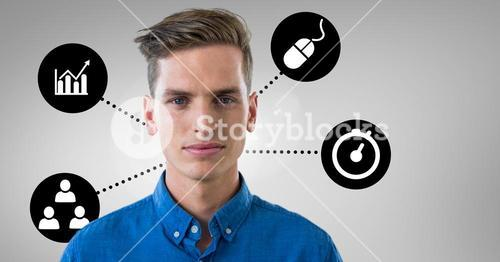 Portrait of man with digitally generated icons