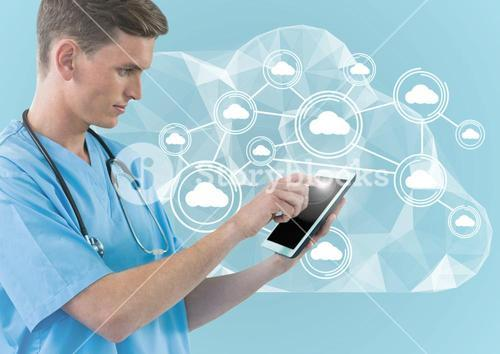 Digital composite image of doctor using digital tablet against cloud computing icons