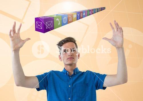 Man pretending to hold digitally generated application icons interface