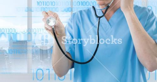 Doctor using stethoscope against digitally generated background