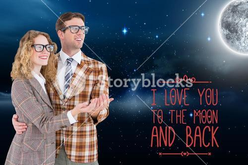 Love message and couple standing against moon in night sky