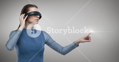 Woman using vr glasses and touching flare