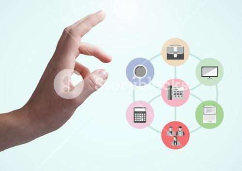 Digital composite image of hand touching application icons