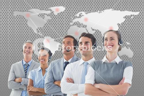 Digital composite of customer service support team against world map