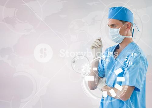 Doctor in mask with touch icon