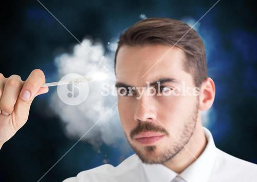Man connecting cable to the cloud
