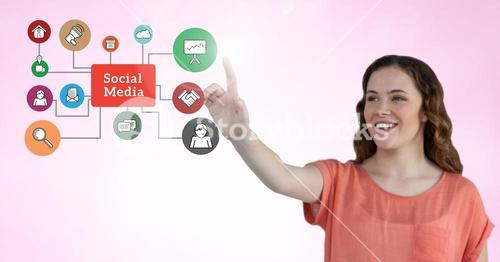 Woman touching smart phone application icons