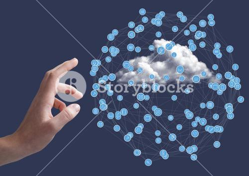 Hand touching digitally generated icons