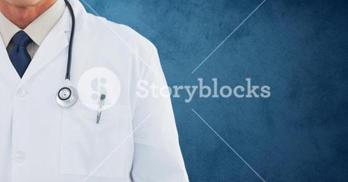 Mid section od doctor of with stethoscope
