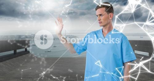 Doctor using futuristic touch screen