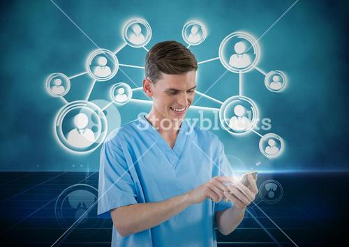 Doctor using mobile phone with digitally generated icon