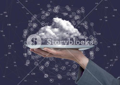 Woman holding connecting icons against blue background with clouds