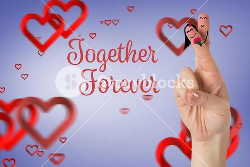 Smiling finger couple in love with red hearts
