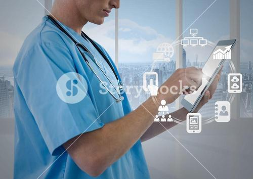 Male nurse using digital tablet with app icon interface screen