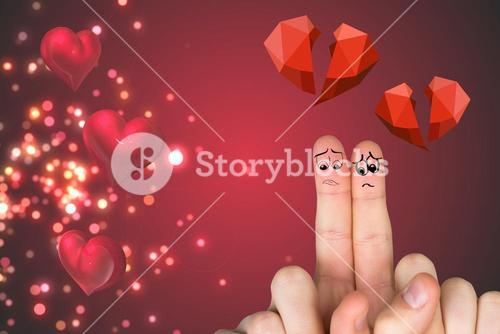 Sad finger couple with red broken heart